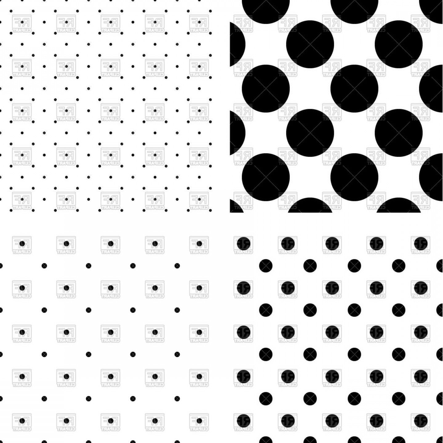 Dot pattern clipart banner black and white download Black And White Polka Dot Seamless Patterns Vector Clipart   SOIDERGI banner black and white download
