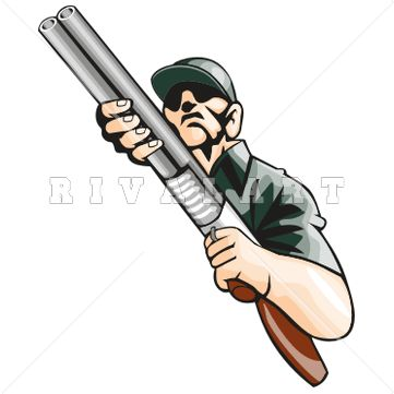 Double barrel shotgun clipart clip library Sports Clipart Image of Color Hunting Hunter Man Holding Double ... clip library