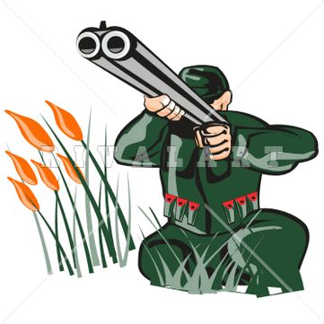 Double barrel shotgun clipart freeuse stock Sports Clipart Image of Color Hunting Hunter Man Holding Double ... freeuse stock