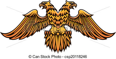 Double eagle clipart royalty free stock EPS Vector of Double headed golden Imperial eagle with fierce ... royalty free stock