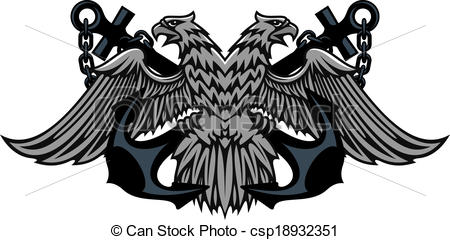 Double eagle clipart vector transparent download Clipart Vector of Double headed Imperial eagle on anchors - Fierce ... vector transparent download