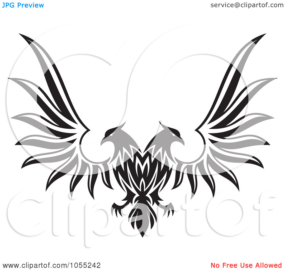 Double eagle clipart graphic royalty free Royalty-Free Vector Clip Art Illustration of a Black And White ... graphic royalty free