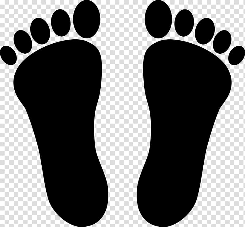 Double footprints in the sand clipart black and white clipart