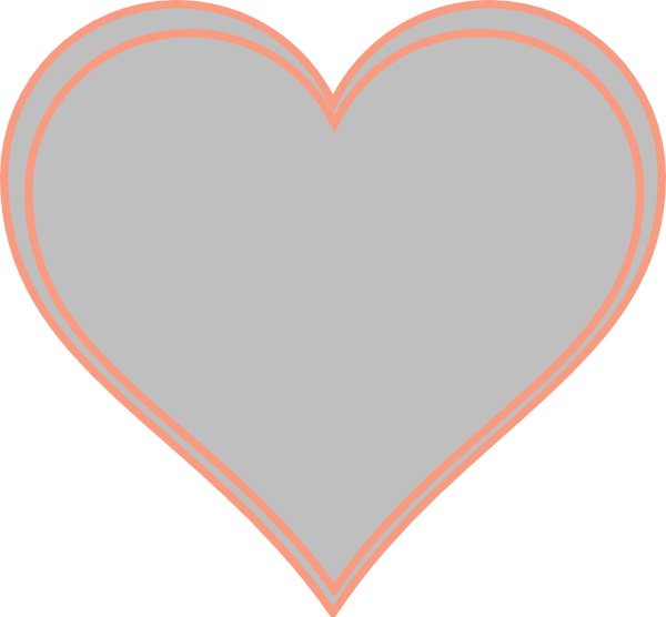 Clipart small heart svg free stock Double Outline Heart Peach With Grey Clip Art at Clker.com - vector ... svg free stock