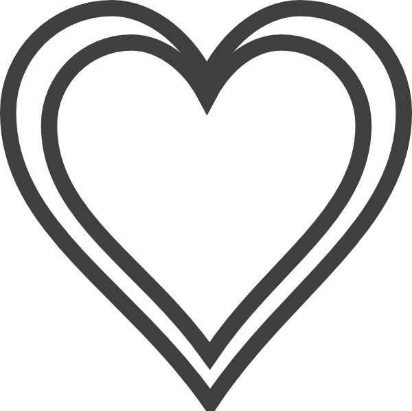Double heart clipart black and white clipart black and white download Double Heart Outline Clip Art at Clker.com - vector clip art online ... clipart black and white download