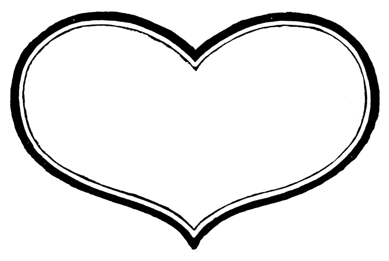 Black and white valentine heart clipart free
