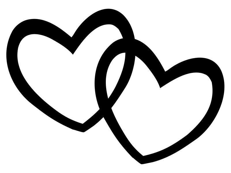 Double line open heart clipart black and white freeuse Hearts Double Heart Clipart Black And White Valentine freeuse