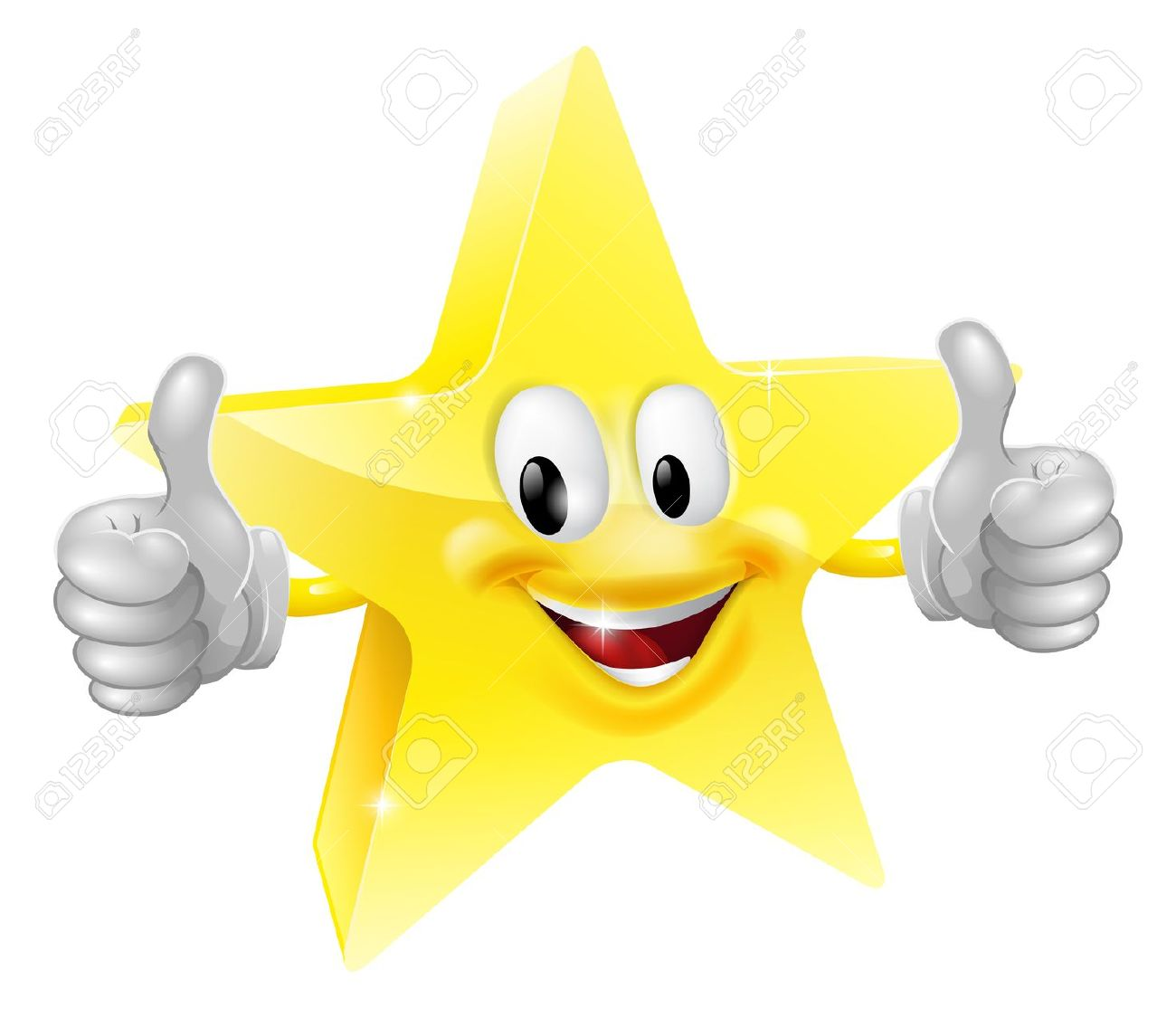 Double thumbs up clipart svg stock A Happy Cartoon Star Man Giving A Double Thumbs Up Royalty Free ... svg stock