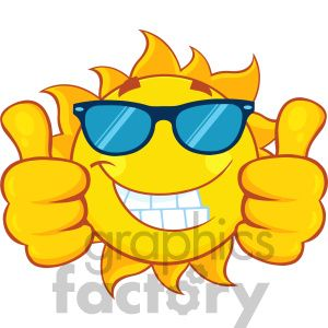 Double thumbs up clipart graphic free Smiling sun cartoon mascot character with sunglasses giving a ... graphic free