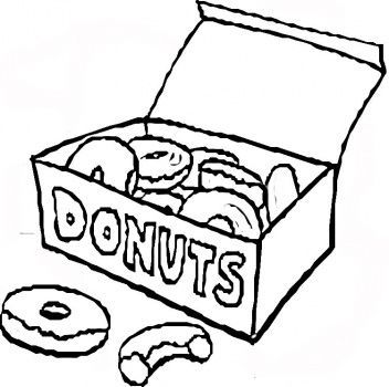 Doughnut clipart coloring pages see the doughnut not the hole picture black and white download box of donuts (drawing) | Dounuts in 2019 | Donut drawing, Donut ... picture black and white download