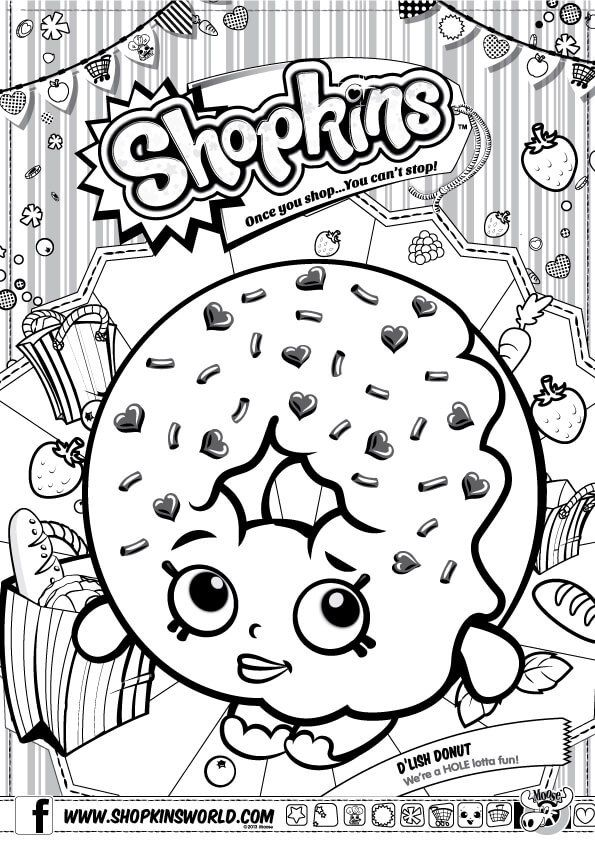 Doughnut clipart coloring pages see the doughnut not the hole stock Shopkins Coloring Pages Season 1 D\'Lish Donut | Party - Shopkins ... stock