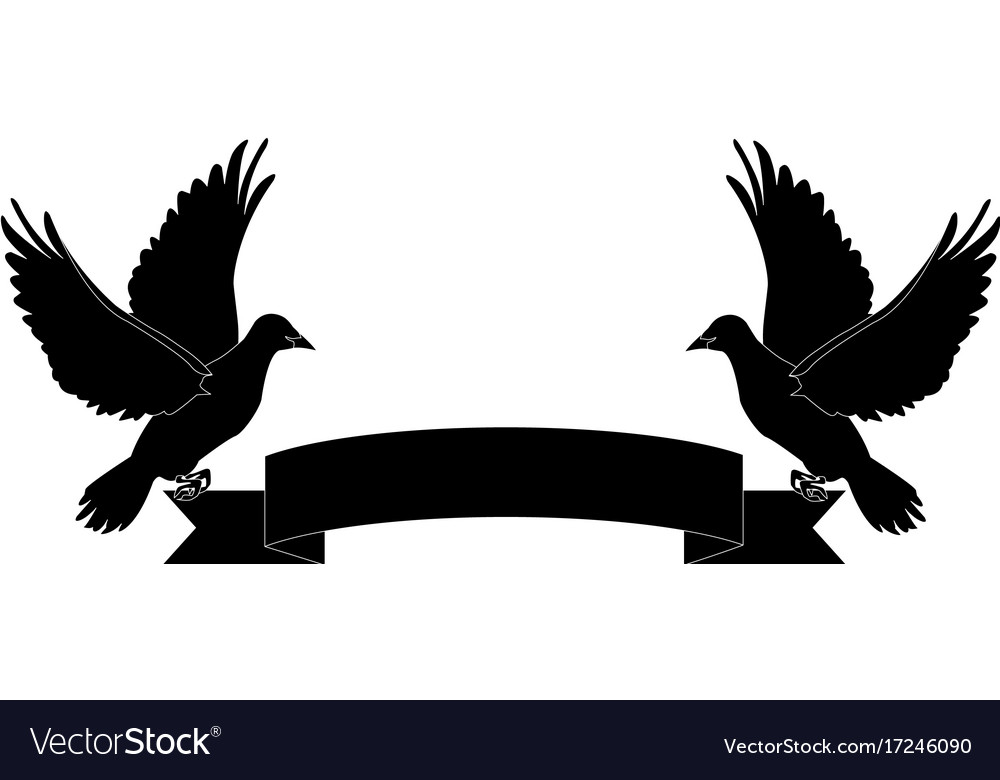 Dove ribbon clipart freeuse download Two doves holding a banner ribbons clip art freeuse download