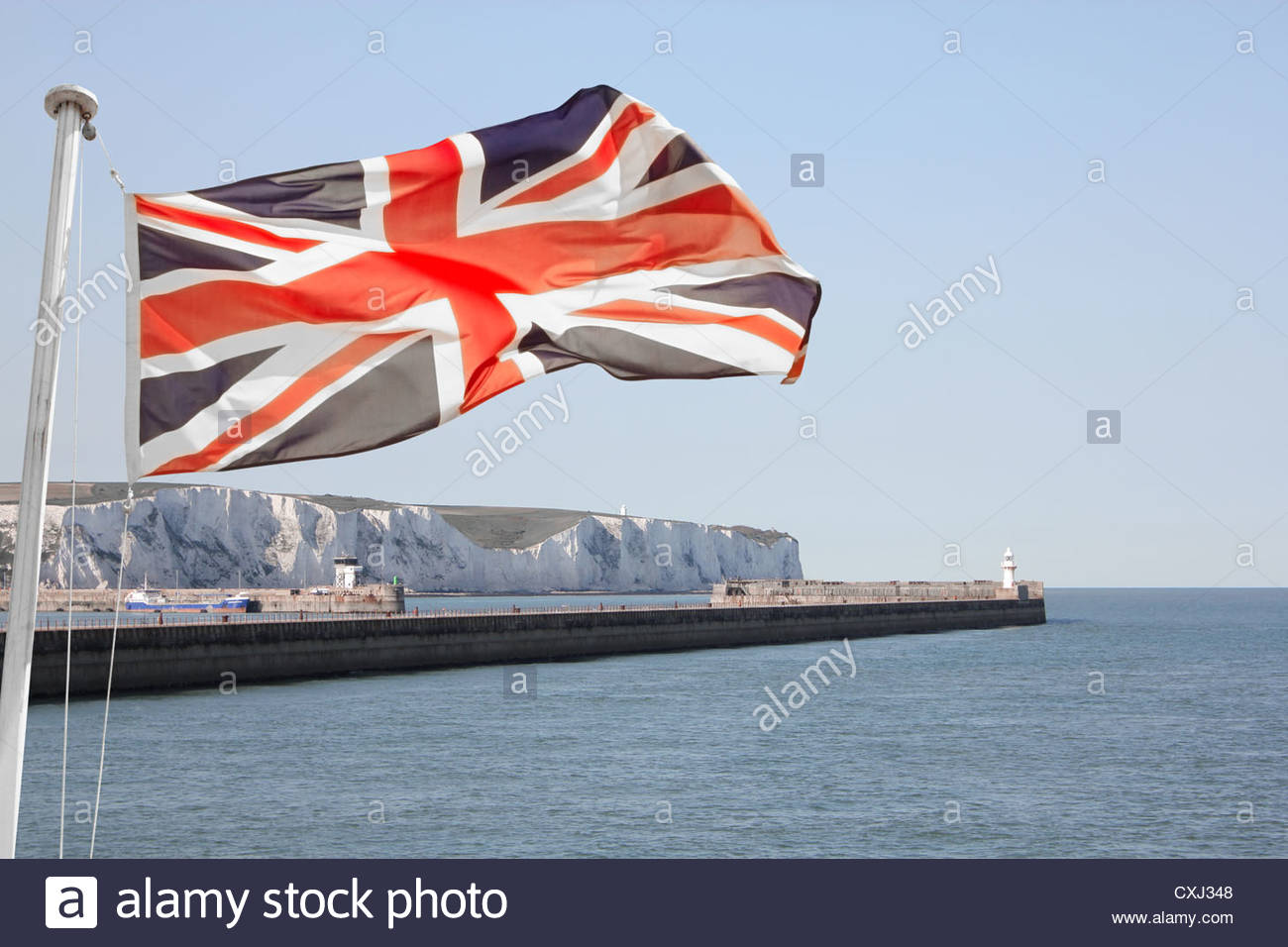 Dover stock clip Union Jack Flag Flying Over White Cliffs Of Dover. Composite Image ... clip