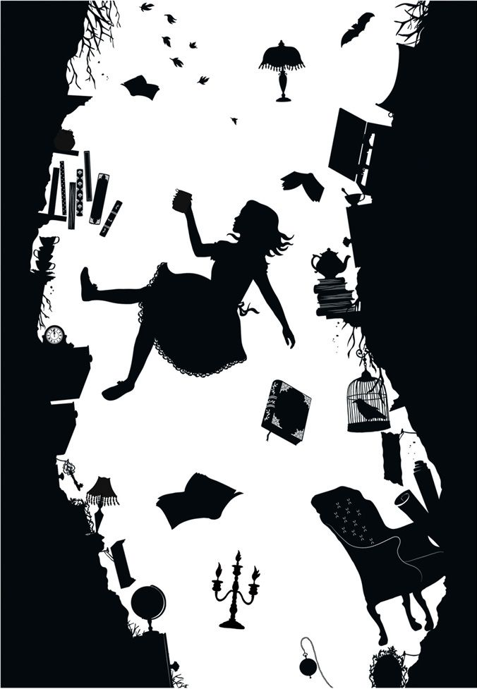 Down the rabbit hole clipart black and white