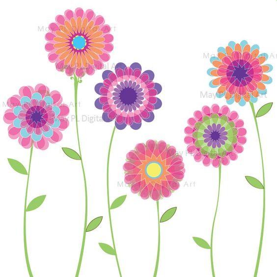 Download clip art flower clip art black and white stock Pink Flower Clipart Spring Flowers Floral VECTOR Clip Art Digital ... clip art black and white stock