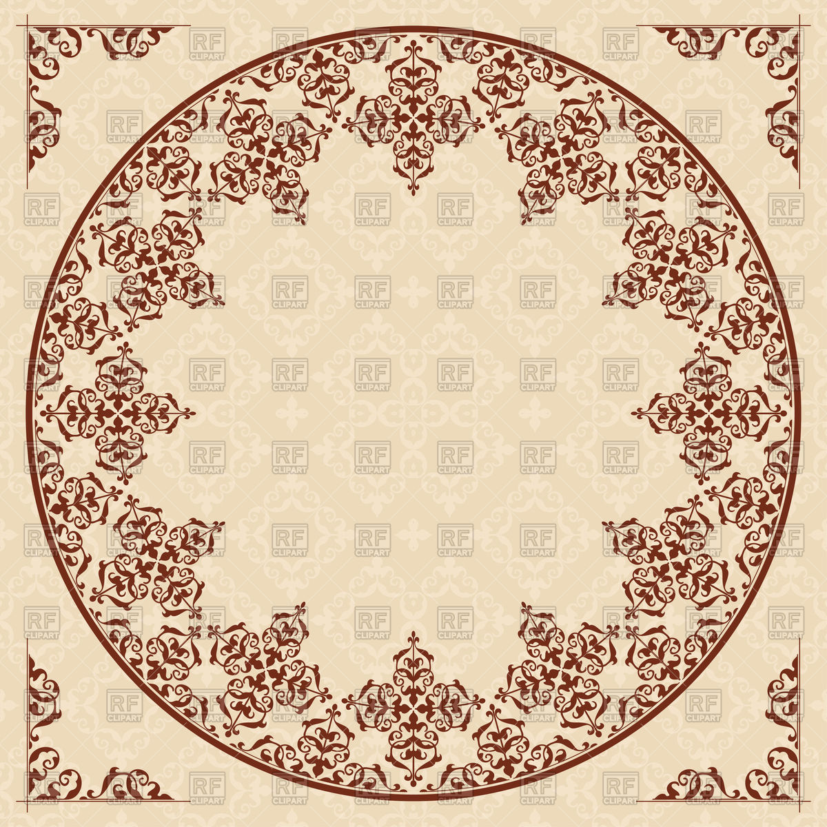 Download clipart arabic picture library Round arabic ornament on light beige background Vector Image ... picture library