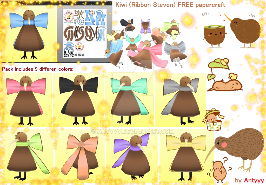 Download clipart pack deviantart vector library Kiwi papercraft (FREE download) by Antyyy on DeviantArt vector library