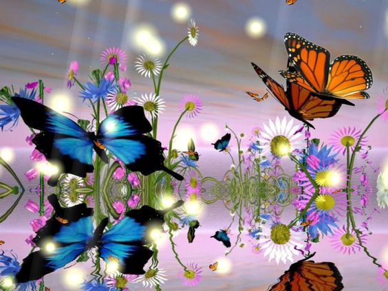 Animated Flowers And Butterflies | Download Fantastic Butterfly ... clip art black and white stock