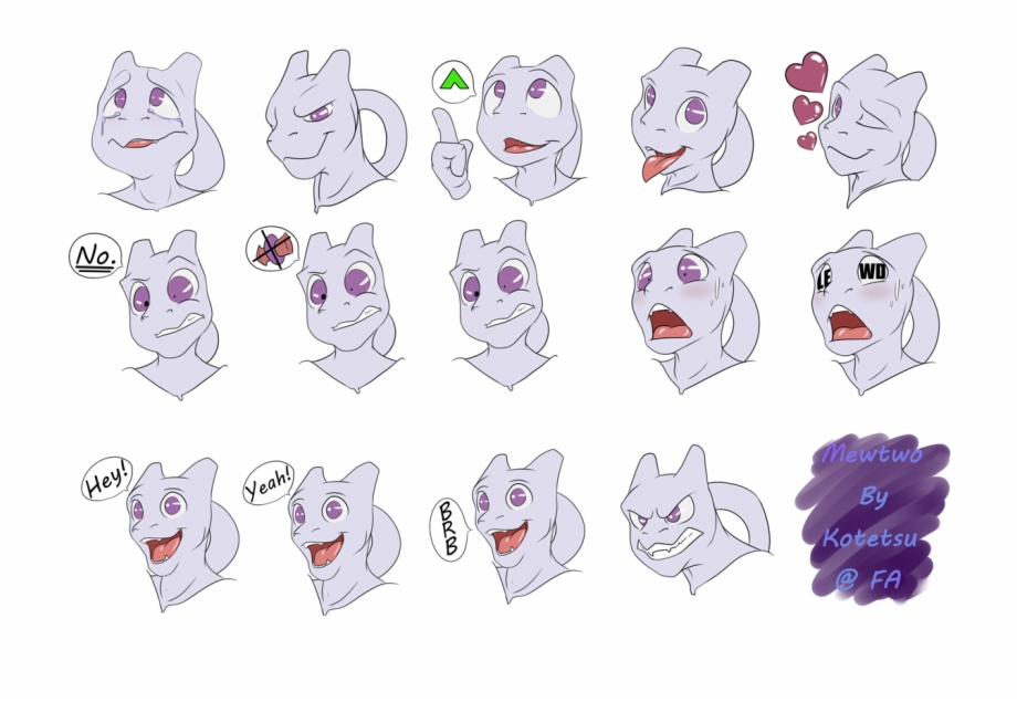Download telegram stickers clipart black and white library Mewtwo Stickers V2 - Mewtwo Telegram Stickers Free PNG Images ... black and white library