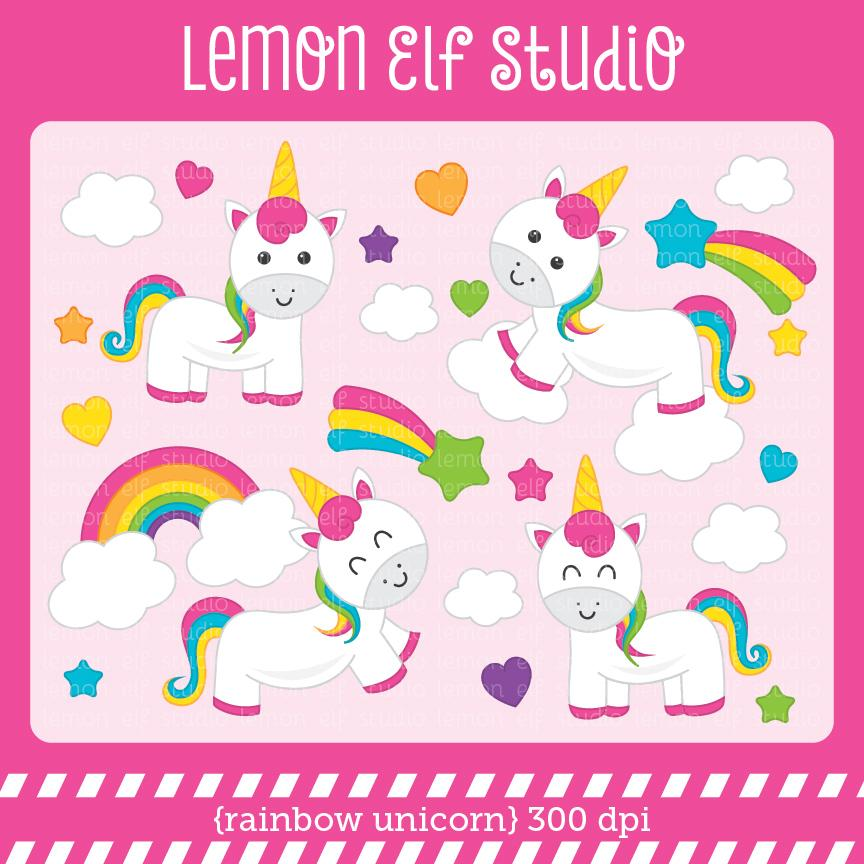 Dpi for cliparts jpg transparent library Rainbow Unicorn-Digital Clipart (LES.CL76B) jpg transparent library