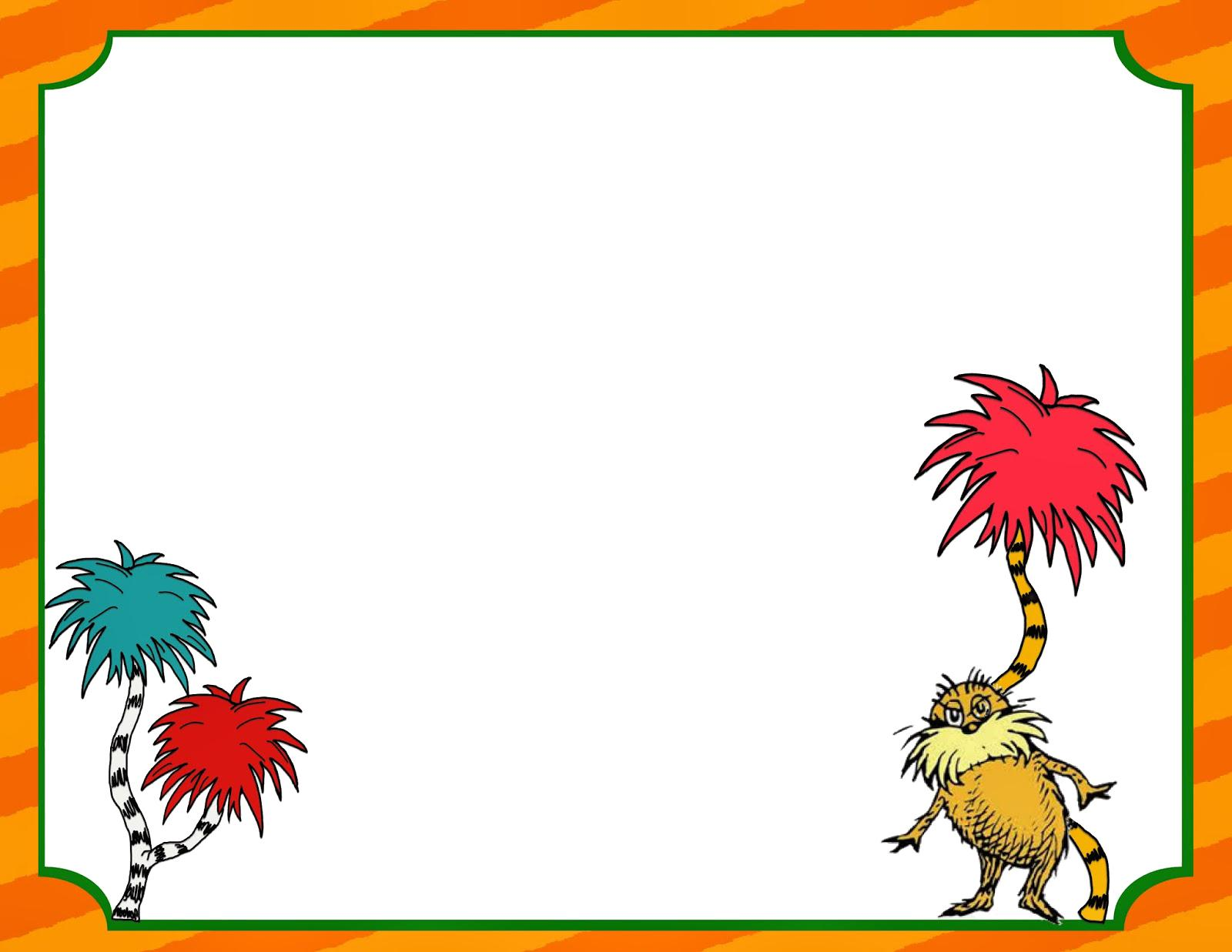 Dr seuss background clipart graphic royalty free Dr Seuss Borders Writing Papers Primary Grades graphic royalty free