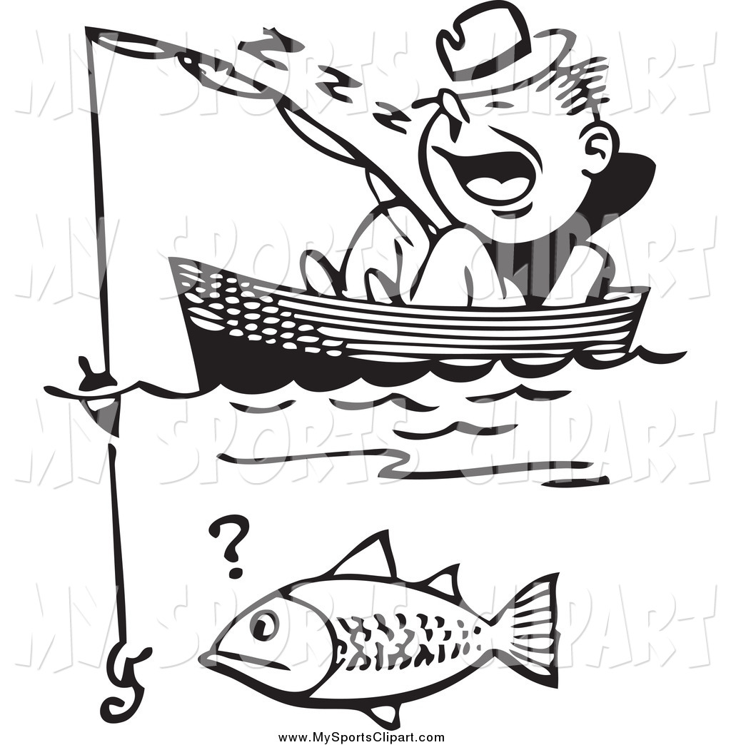 Cat in the hat. Fishing boat clipart black white