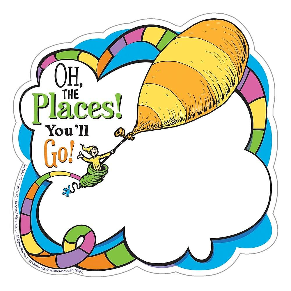 Dr seuss clipart oh the places you ll go image black and white Eureka Dr. Seuss Oh The Places You\'ll Go Paper Cut Outs, 144/Set (EU-841541) image black and white