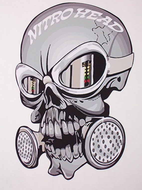Drag racing gas mask clipart png library Nitro Head Skull trailer Window Decal Decals Sticker NHRA Drag ... png library