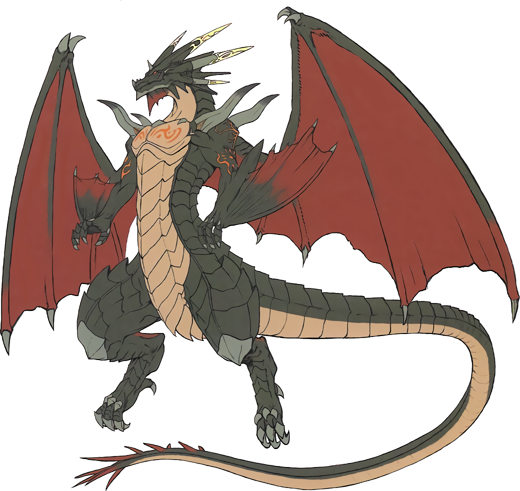 Dark graphics illustrations free. Dragon with crown clipart