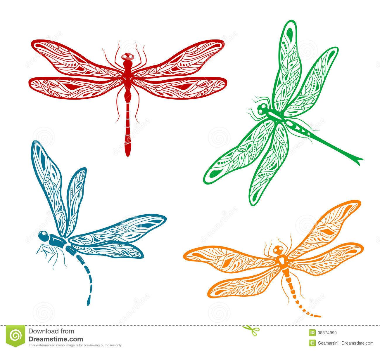 Dragonfly vector clipart picture Dragonfly vector | Set of four different pretty dainty dragonfly ... picture