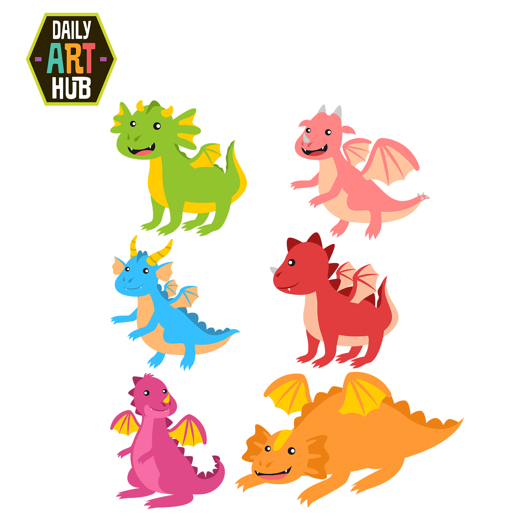 Dragons clipart png freeuse library Cute Dragons Clip Art Set png freeuse library