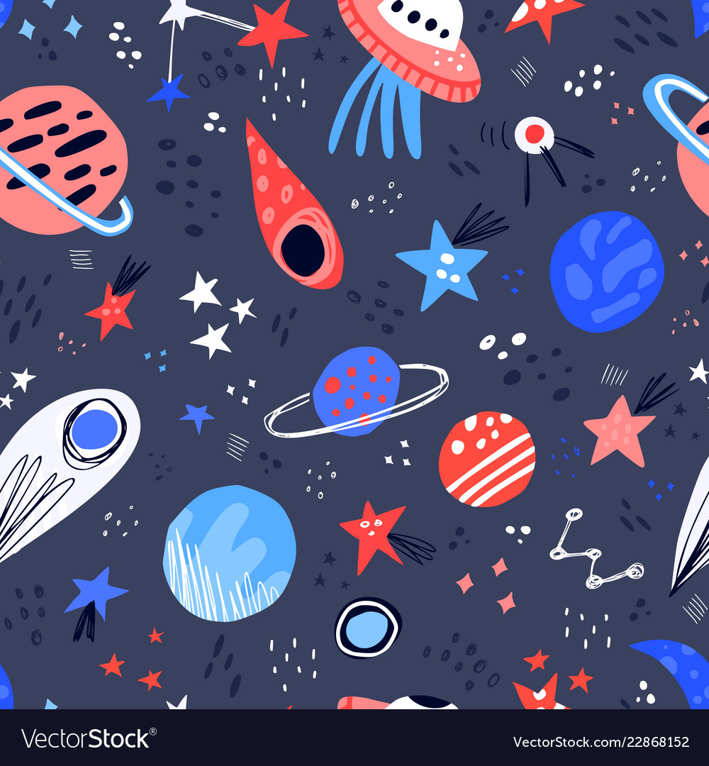 Drawn clipart in color free vector library download Space hand drawn color seamless pattern vector library download