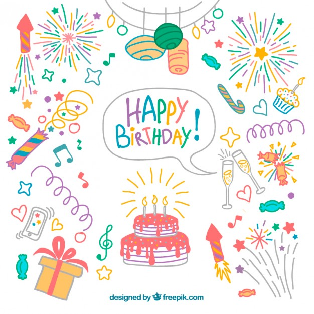 Drawn clipart in color free png free Hand drawn colored birthday elements pack Vector   Free Download png free