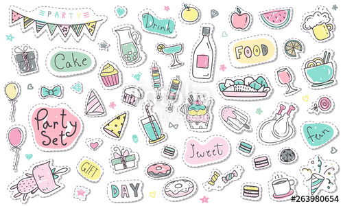 Drawn clipart in color free picture transparent download Cute hand drawn party sticker collection in pastel color. Party ... picture transparent download