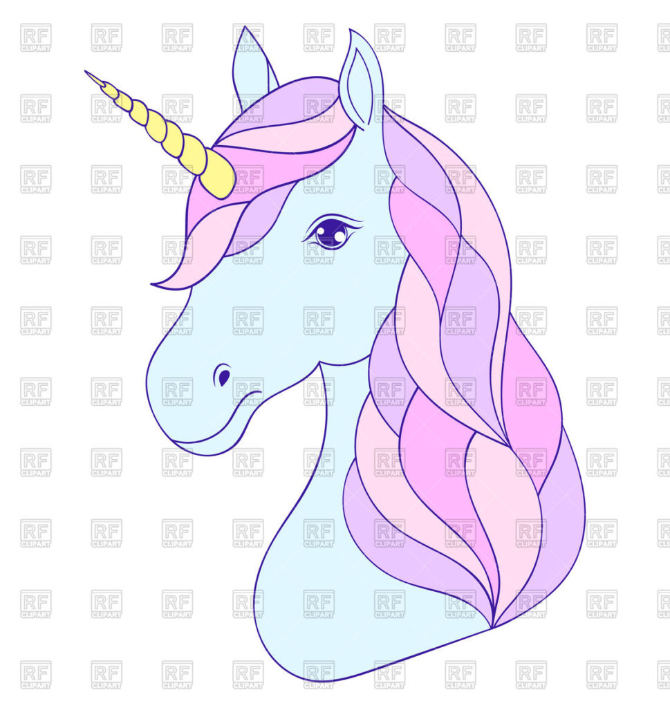 Drawn clipart in color free graphic royalty free download coloring ~ Head Of Hand Drawn Color Unicorn On White Background ... graphic royalty free download