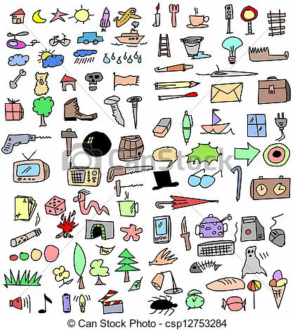 Drawn clipart in color free jpg freeuse library color hand drawn objects -   Clipart Panda - Free Clipart Images jpg freeuse library