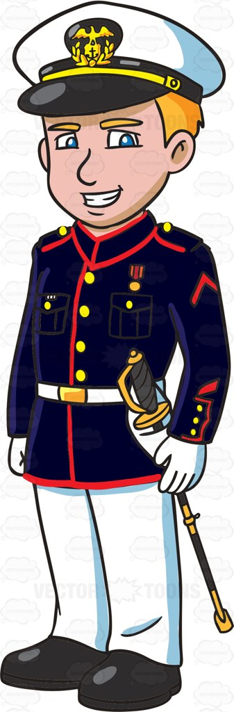 Usmc animated clipart vector royalty free A US Marine Corps Officer Wearing A Blue White Dress Uniform ... vector royalty free