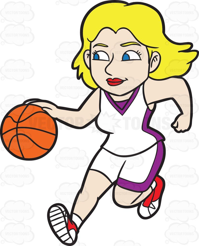 Dribbling clipart picture black and white download A Female Basketball Player Dribbling A Basketball Down The Court ... picture black and white download