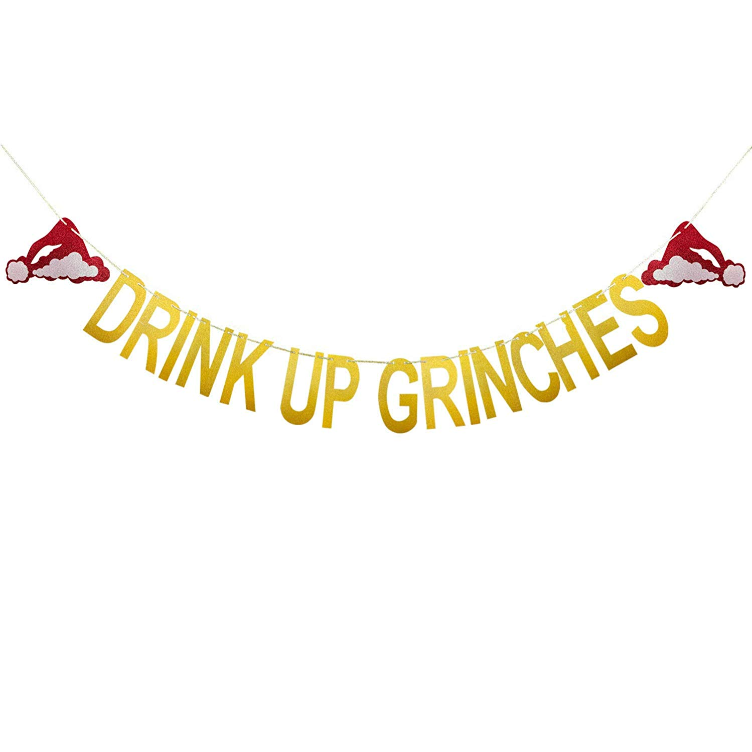 Drink up grinches clipart banner library Aozer Drink Up Grinches Christmas Hat Banner Gold Glittery Party Props  Garland Bunting Sign for Xmas Party Decoration Supplies banner library