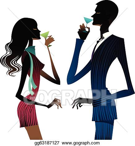 Drinking wine clipart vector black and white download Vector Art - Couple drinking wine . Clipart Drawing gg63187127 - GoGraph vector black and white download