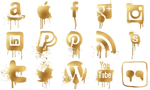 Dripping gold clipart vector royalty free stock Dripping Gold Icons Pack - Gold Foil Social Media Icons - Blog Icons ... vector royalty free stock