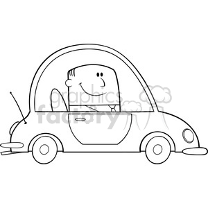 Man working under car black and white clipart clipart black and white download Royalty Free RF Clipart Illustration Black And White Businessman Driving  Car To Work Cartoon Character clipart. Royalty-free clipart # 395848 clipart black and white download