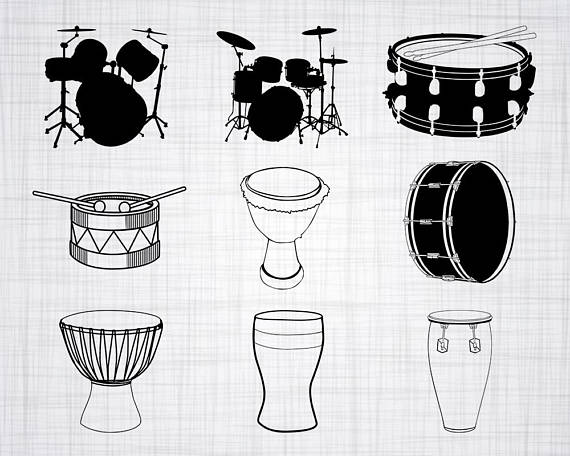 Drumming on buckets black and white clipart image transparent stock Drums SVG Bundle, Drums SVG, Clipart, Drums Cut Files For Silhouette ... image transparent stock