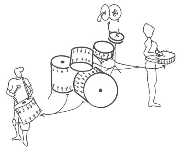 Drumming on buckets black and white clipart image free download Drums & Demonstrations image free download