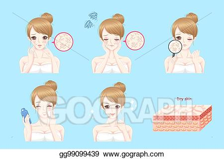 Dry skin clipart clipart black and white library Vector Illustration - Woman with dry skin. EPS Clipart gg99099439 ... clipart black and white library
