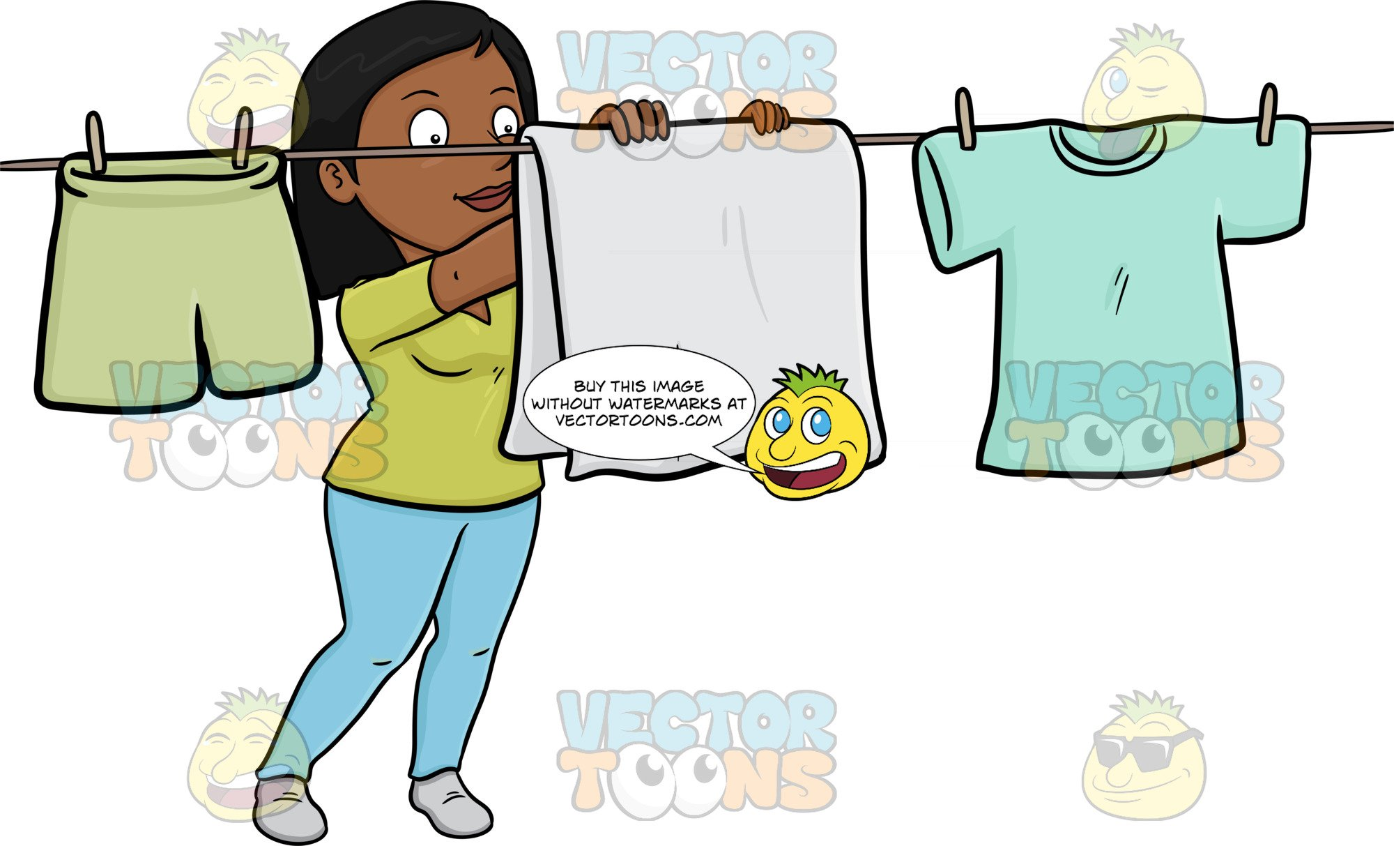 Drying clothes clipart banner library download A Cheerful Black Woman Hanging Garments To Dry On A Bright Day banner library download