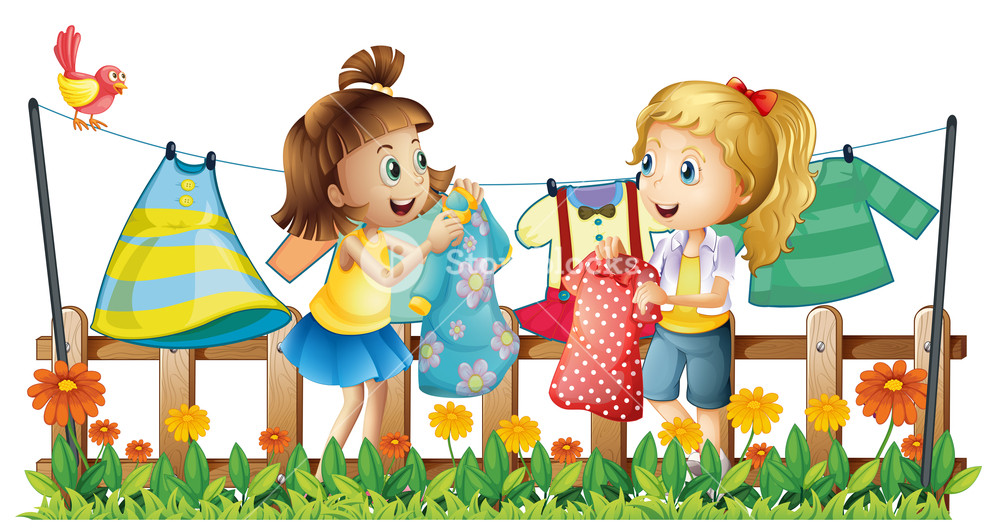 Drying clothes clipart picture royalty free Two girls drying their clothes illustration Royalty-Free Stock Image ... picture royalty free