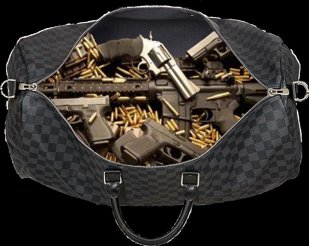 Guns gucci guccibag trap. Duffle bag with money clipart