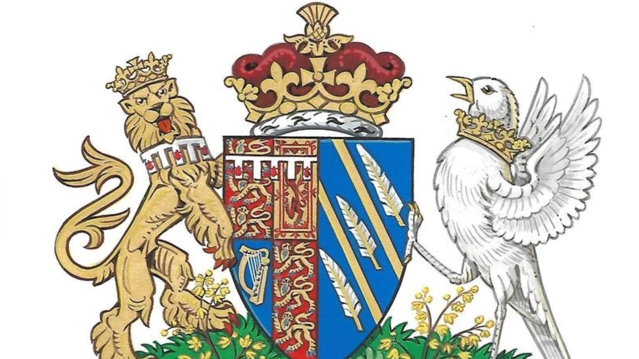 Duke and duchess clipart black and white clip black and white library Meghan Markle: Creepy songbird on coat of arms is getting strangled clip black and white library