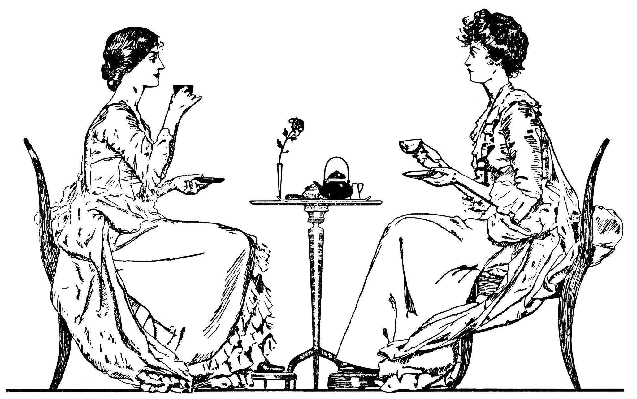Victorian tea clipart christmas banner freeuse stock Victorian tea time, ladies drinking tea, black and white clip art ... banner freeuse stock